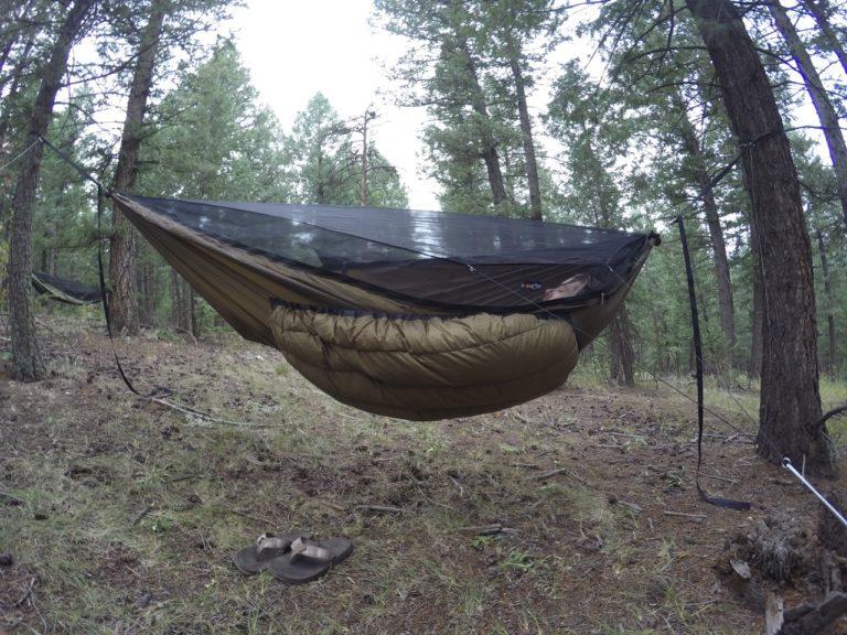 Brown Yeti underquilt on Blackbird XLC hammock