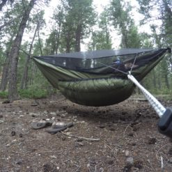 Green Yeti underquilt on Blackbird XLC hammock side view