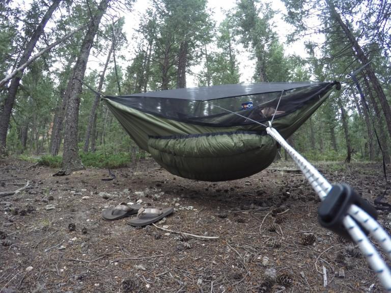 Green Yeti underquilt on Blackbird XLC hammock side view