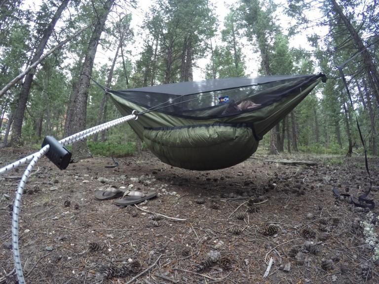 Green Yeti Underquilt on Blackbid XLC hammock
