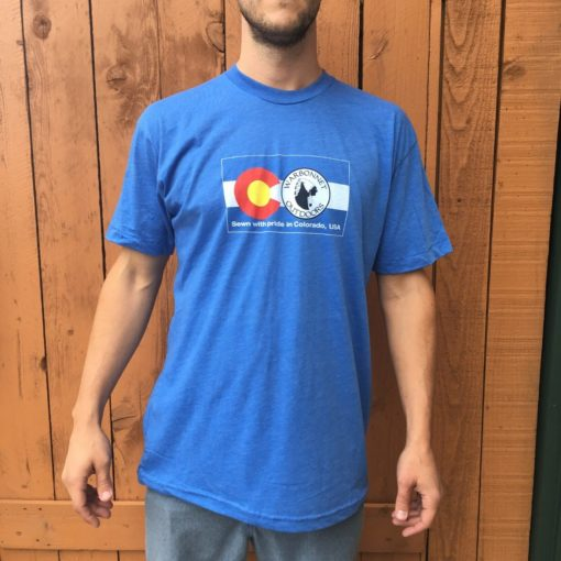Blue Warbonnet Outdoors Flag logo t shirt