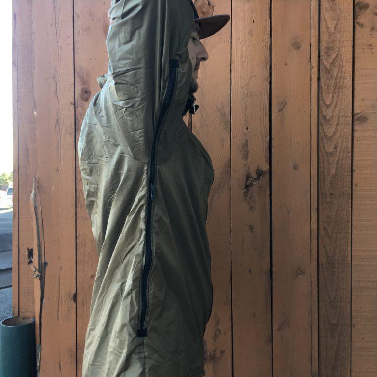 Brown Stash jacket with tarp fabric