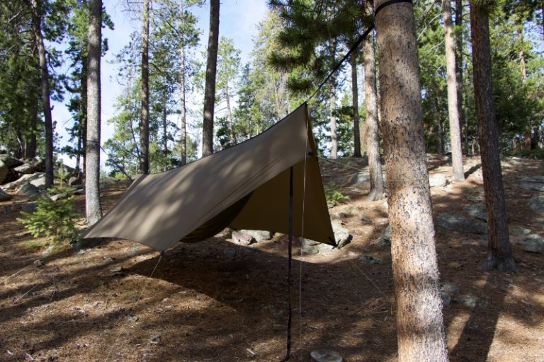 Front view of Minifly hammock tarp with doors closed