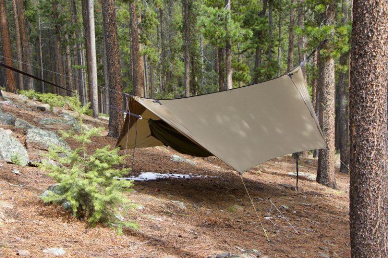 Side view of Minifly Hammock tarp with doors open