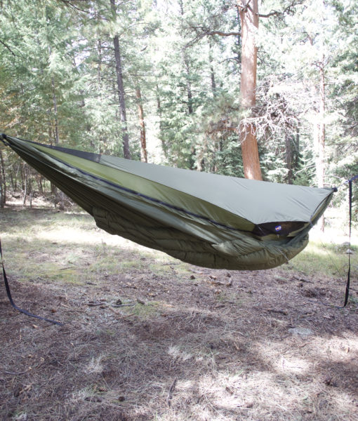 Solid Green Winter Hammock Topcover with Wooki underquilt