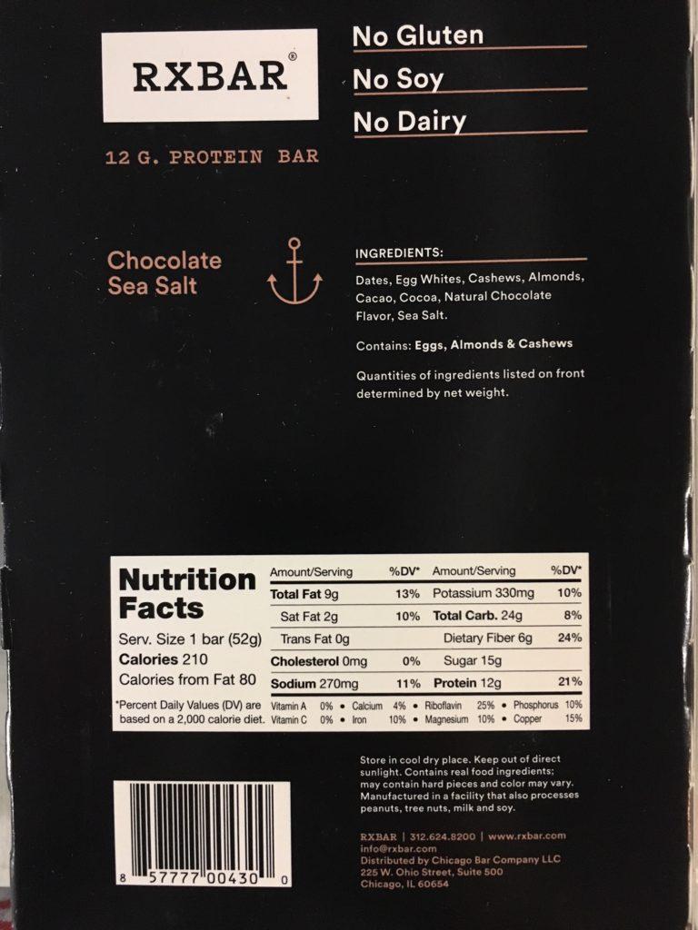 RX Bar Ingredients Chocolate Sea Sale